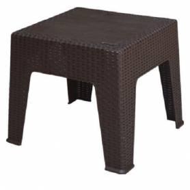 Sofpince Table Basse Plastique Rotin - Extérieur&Intérieur - 45 * 45 cm - Marron