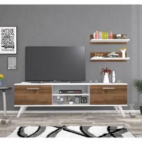MEUBLE TV DORA - Blanc & Marron - 150*45*35 CM