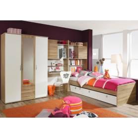 Chambre Skander avec Armoire 3 portes  chene et blanc