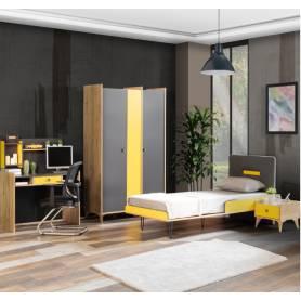 Chambre Salima gris et jaune
