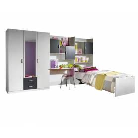 Chambre skander gris et blanc armoire 3 portes