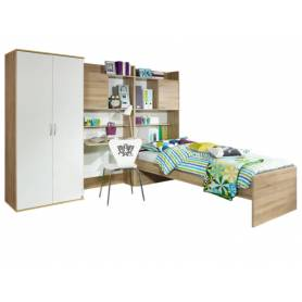 Chambre skander chene et blanc avec lit simple