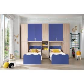 Chambre Jumeaux deux lits chene et bleu