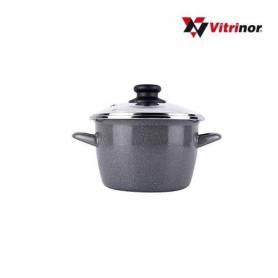 VITRINOR Marmite Avec Couvercle 26Cm - K2 Granit - Noir Moucheté - Made in Spai