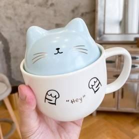 Mug céramique avec Cuillère et Couvercle - 'cat' -300 ml