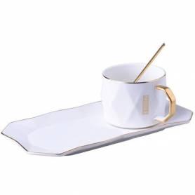 Tasse et sous Tasse avec Cuillère - Blanc & Doré - Café - 24.5 X 12 X 6.5 Cm