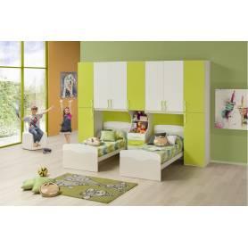 Chambre Jumeaux deux lits blanc et vert