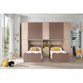 Chambre Jumeaux deux lits chêne et marron