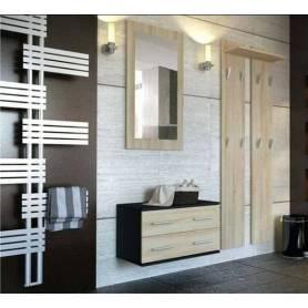 Élément d'entrée 3en1 chêne et noir-miroir-porte manteaux- console avec 2 tiroirs
