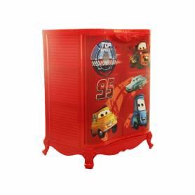 Sofpince Armoire en plastique - Disney - 2 Portes - Cars - 80x60x40cm