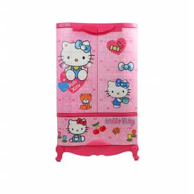 Sofpince Armoire en plastique - Disney - 2 Portes +1 casier- Hello Kitty - 102x60x43cm