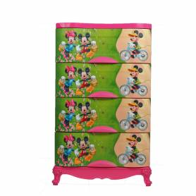 Sofpince Armoire en plastique - Disney- 4 casiers - Mickey - 100x60x40cm