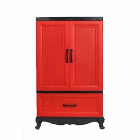 Sofpince Armoire en plastique - CLEOPATRE - 2 Portes +1 casiers - Rouge et noir  - 102x60x43cm