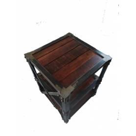 Table Basse Vintage style - Fer & Bois   - 40*40cm