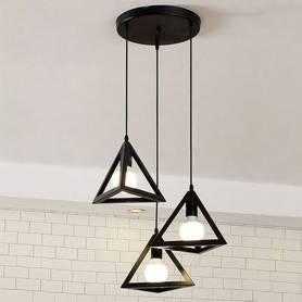 Suspension 3 Luminaire - Design Triangle Métal Industriel - Noir