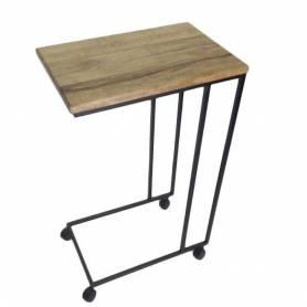 Table multitâche haute en bois et acier Noir - 60X38X85 cm - Bois fraké