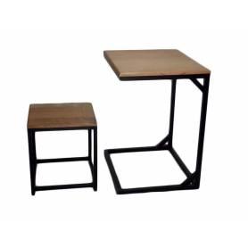 Table multitâche et tabouret en bois et acier -(61X51X74 cm)  - Noble bois