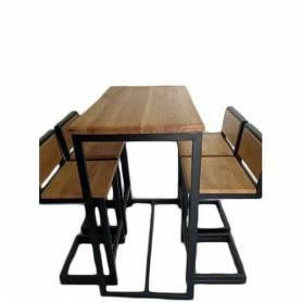 Table haute et 4 chaises  en bois du chêne  et acier epoxy 100 X 60 X 114 cm - Bois du chêne et acier epoxy.