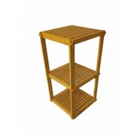 Élément 3 étage en bois rouge - 78 X 40 X 40 cm - Jaune