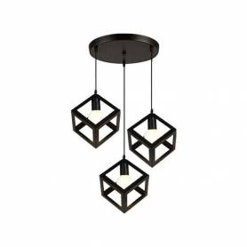 Suspension 3 Luminaire - Design Cube Métal Industriel - Noir