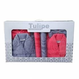 TULIPE  2 CAPS DE BAIN +2 SERVIETTES +2 GANTS POUR ELLE & LUI - ROSE&GRIS