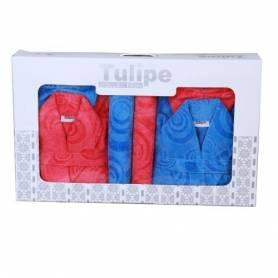 TULIPE  2 CAPS DE BAIN +2 SERVIETTES +2 GANTS POUR ELLE & LUI - ROSE & BLEU