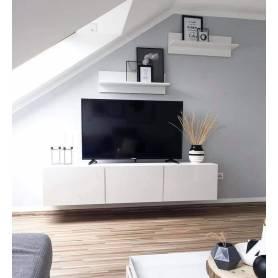 Meuble tv suspendue avec deux étagères muraleblanc