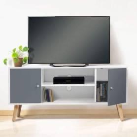 Table TV Blanc et gris-120*47*30cm