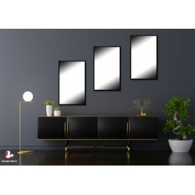 3 Miroirs avec cadre Noir-60*40cm