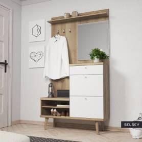 Vestiaire d'entrée prestige chêne et blanc-100*180*35cm