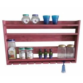 Étagère à bouteilles - Bois rouge - 90*52*10 cm - Fushia