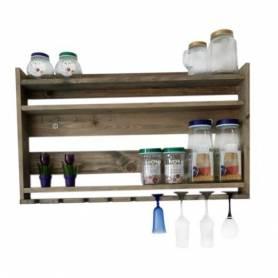Étagère à bouteilles - Bois rouge - 90x52x10 cm - Grège