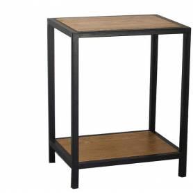 Table basse a deux étages  - acier et bois - 30/40/563 cm