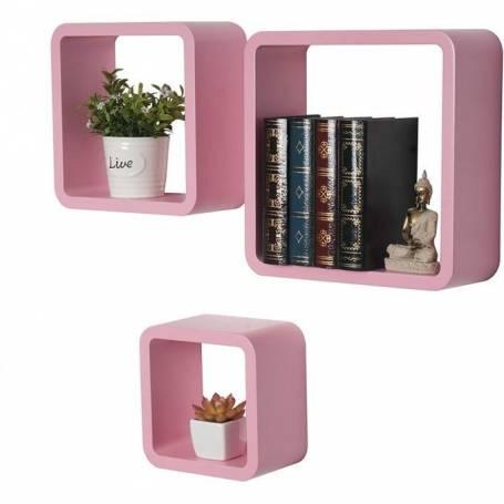 Lot de 3 étagères murales Rose bébé- Triple Cube décoratif