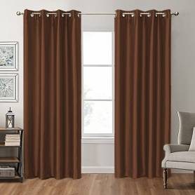 Rideau satin marron 4m