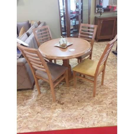 Table à manger ronde avec quatre chaises