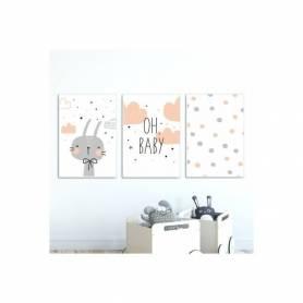 Serie de 3 tableaux - Oh baby