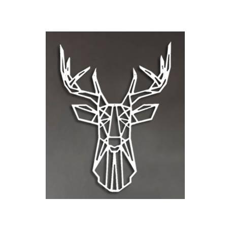Tête de cerf – 65/50cm – Argent en Bois