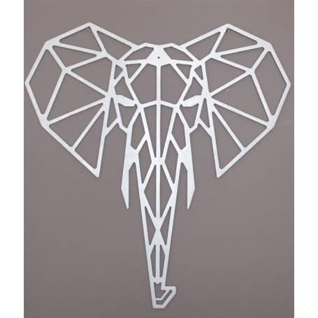 Tête d'éléphant - 65*61 cm - Argent en Bois
