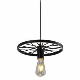 Suspension Roue avec lampe filament - Fer - Noir