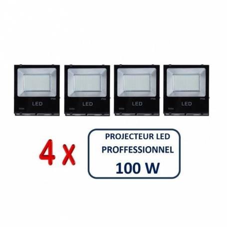 Pack de quatre projecteurs led -100 w - IP66 - Blanc - 6500 k