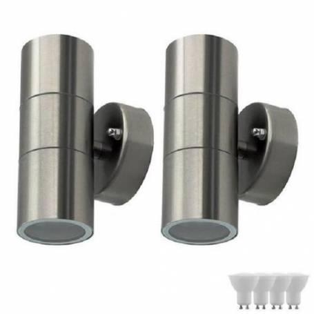 Pack de 2 appliques double faisceau - Inox - Avec 4 ampoules led GU10