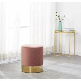 Pouf a base doré Salon rose 40cmx40