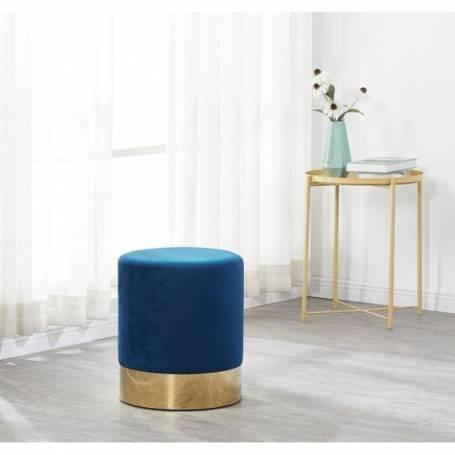 Pouf a base doré Salon bleu