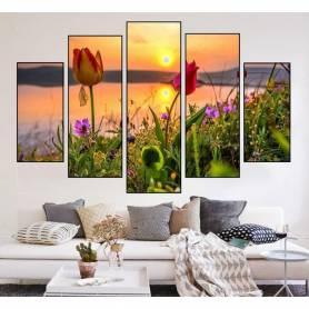 Tableau décoratif  - Fleur au coucher de soleil