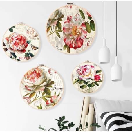"""Une série de 4 Guerguef murale """"Fleurs"""""""