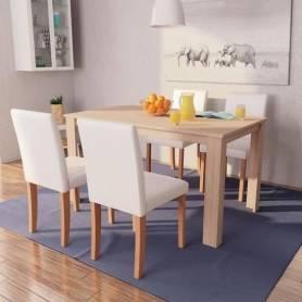 Table à manger avec 4 chaises en simili cuir