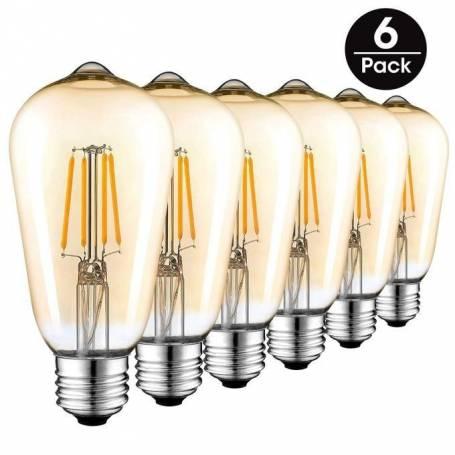 Pack de 6 Ampoules LED Filament Vintage - 4W - E27 - Décorative - 220 V