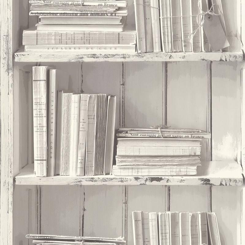 Papier Peint Bibliotheque Blanc Gris Reality 3 Ref 51151609 Baity Tn