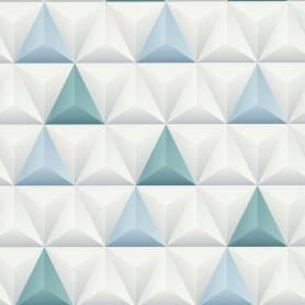 Papier peint 3D Triangles blanc bleu - Reality 3 Réf 51176401